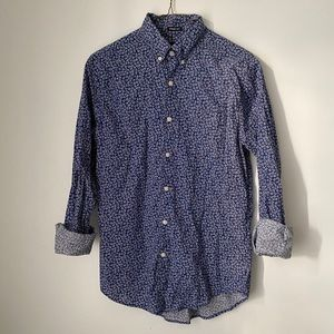 Men's blue red and white floral button down shirt